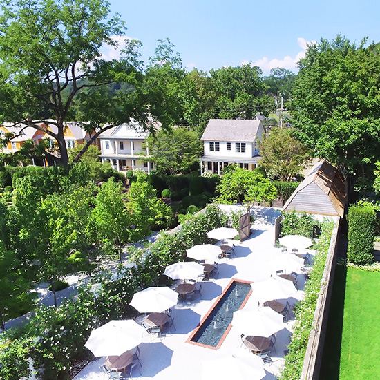 Aerial view of the Rose Garden at Valley Rock Inn & Mountain Club