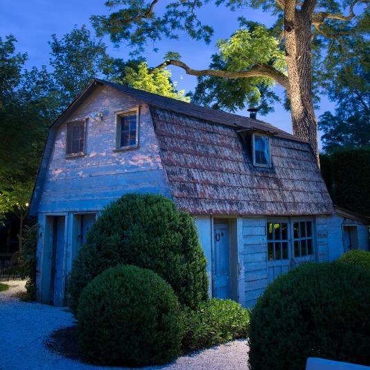 Night shot of blue barn at Valley Rock Inn & Mountain Club